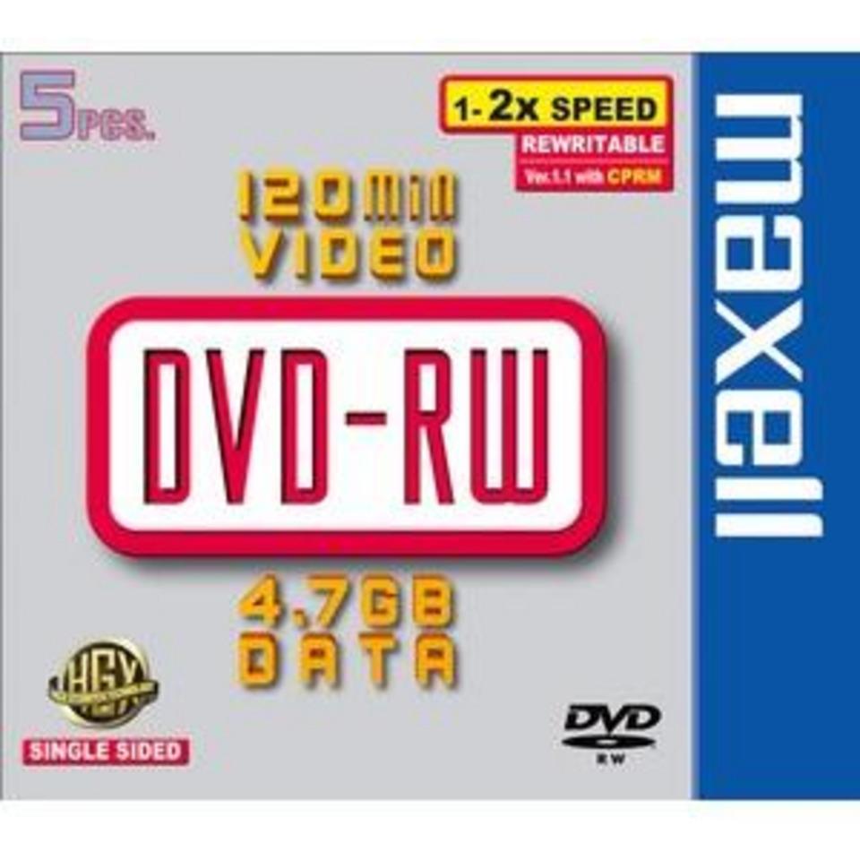 DVD-RW 4,7GB MAXELL 2X PK5 BOITIER JEWELL