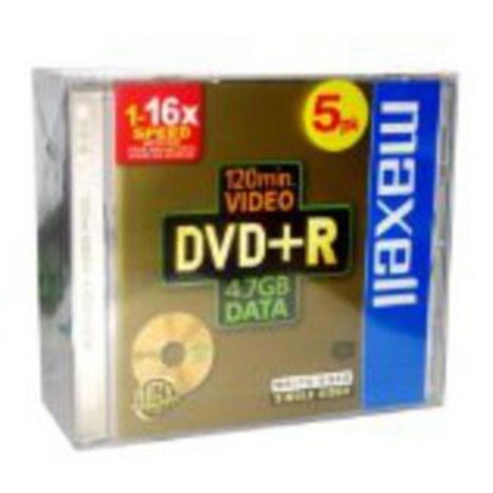 DVD+R 4,7 GO 16X MAXELL  PK5 REDEVANCE AUDIO PAR UNITE 1,00 E